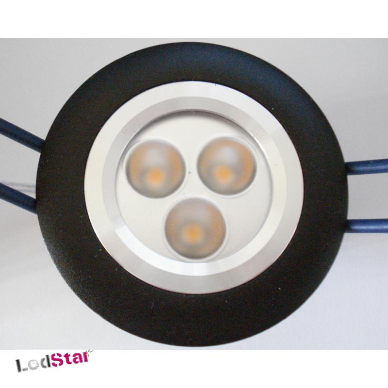 Einbaustrahler 3x1 Watt LED Nichia warmweiss Vollaluminium inkl. Treiber 24Volt